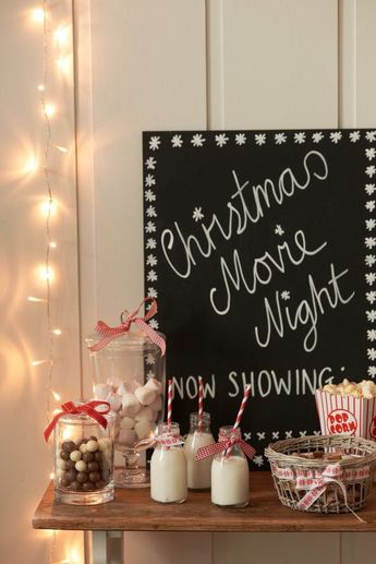 Love this holiday get-together idea. Plan a movie night in with the girls, and watch all your favorite Christmas movies!
