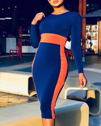Colorblock Long Sleeve Bodycon Dress