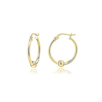 0f08a7666 Sterling Silver Bead Round Polished Hoop Earrings ** Very kind of you to  drop by