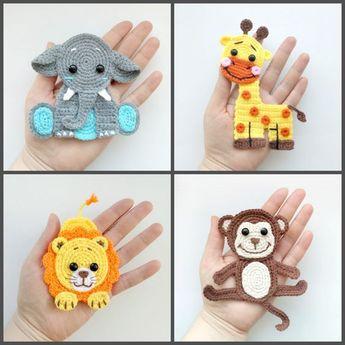 PATTERN Jungle Animal Applique Crochet Patterns PDF Elephant Giraffe Lion Monkey Crochet Appliques Zoo Animals Motif Baby Blanket Gift ENG