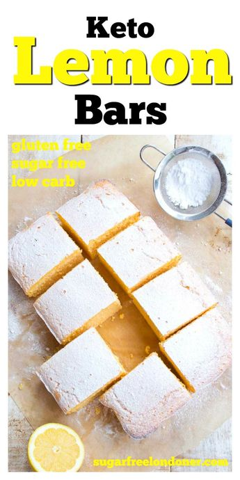 Moist and on the right side of zingy, these easy Keto lemon bars are a crowd pleaser! A sugar free dessert recipe you'll want to make over and over again. Check out the post for topping ideas and variations, from sugar free lemon cake drizzle to low carb lemon curd frosting. #lemonbars #ketolemonbars via @sugarfreelondon