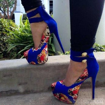Fancy Most Chic Girls Multi Print Blue Close Toe High Heel Spring Shoes : Tidebuy.com