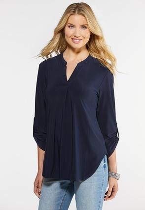 Plus Size Solid Popover Top Tops Cato Fashions