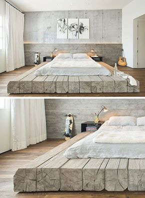 This bed sitting on platform made of reclaimed logs adds a rustic yet contemporary feel to the large bedroom. #bed #logs #reclaimedlogs #bedroom #shabbychic #wood #interiordesign