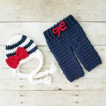 1a5886a7208 Red Lollipop Boutique  theredlollipop. Crochet Baby Striped Bow Beanie  Pants Set Diaper Cover Infant Newborn Baby Photography Photo Prop Baby