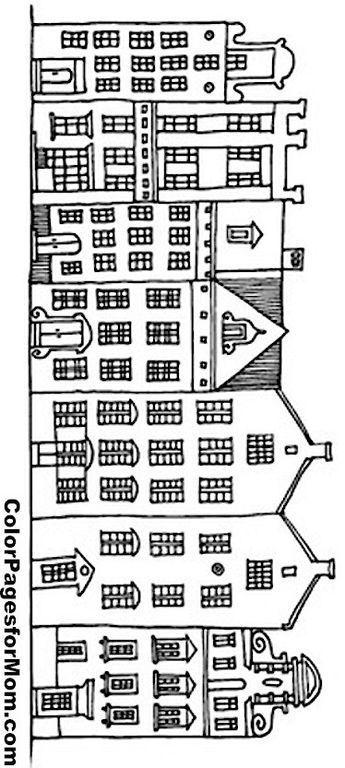 PRINT HEM UIT. PLAK HEM.OP JE RAAM EN TEKEN HEM OVER MET JE KRIJTSTIFT Huisjes. Geveltjes grachtenpand grachtenpanden huisjesraamtekening raamtekening Adult houses Coloring Pages Printable | House Coloring Page 8