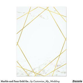Marble and Faux Gold Geometric Wedding Invite | Zazzle.com