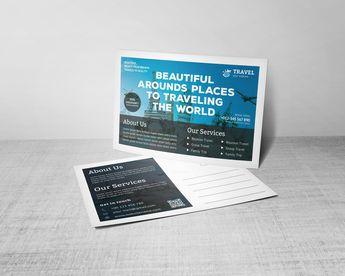 Modern Travel Postcard Design Template - Graphic Templates