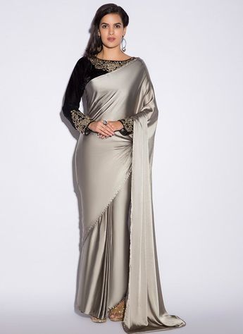12463d9a28b5cf Black and Grey Satin Saree #IndianFashion #HotFashionTrends