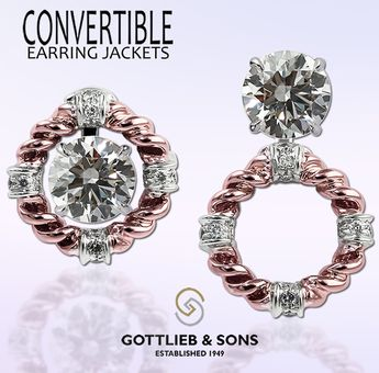 Vintage Inspired Rose And White Gold Diamond Convertible Earring Jackets Allow You To