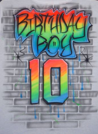 Airbrushed Birthday Boy Jersey Number 10 10th 90s Style Graffiti Brick Wall Neon Fluorescent Glow In