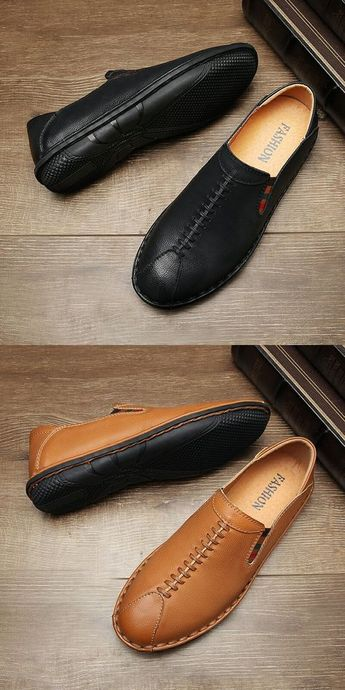 $28.98 Men Casual Driving Shoes Genuine Cow Leather Loafers