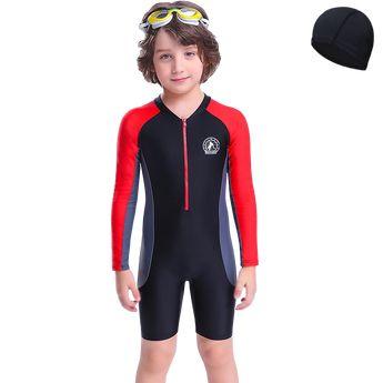 631556695d Children's Swimsuit Boys Long Sleeve Swimsuit Large Children's Child  Sunscreen Siamese Body Swimsuit Baby Quick-
