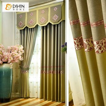 DIHIN HOME Symmetrical Pattern Printed,Blackout Curtains Grommet Window Curtain for Living Room ,52x84-inch,1 Panel