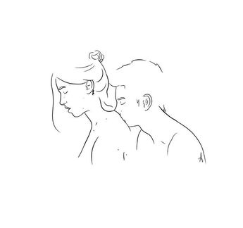 28. Silence by albasketch #draw #drawing #illustration #art #artist #sketch #sketchbook #lineart #couple #silence #bw #blackandwhite #albasketch