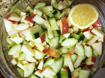 A light and tangy salad perfect for hot summer feeding days!This is a summer and autumn school food service recipe for Cucumbers, Apples, Bell Peppers, and fresh herbs.Cooking and prep level: Basic.
