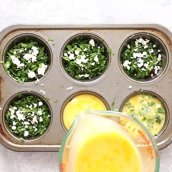 These Spinach Egg Muffins are the perfect high-protein breakfast, snack, and everything in between. Just place all the ingredients into a muffin tin, pour in the eggs, and bake! #eggs #protein #spinach #