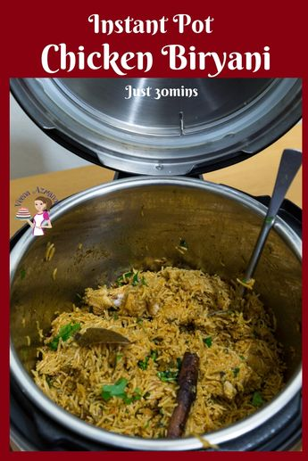 Make a quick and easier version of the classic Indian Chicken Biryani with an Instant Pot or Pressure Cooker in less than 30 minutes #Chicken #biryani #Indian #InstantPot #PressureCooker #Recipe