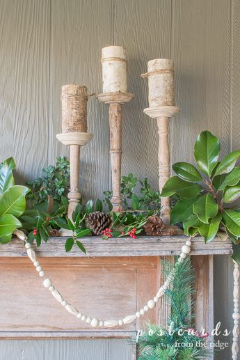 Cozy Natural Christmas Porch Decor with Vintage Mantel