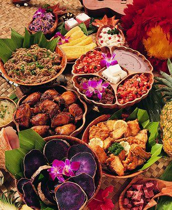 A traditional Hawaiian luau may feature food like:    poi, kalua pig, poke, lomi lomi salmon, opihi, and desserts like  haupia and kulolo