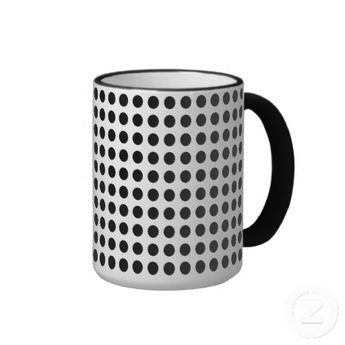 Funky, unique, trendy and cool coffee or tea mug. With beautiful black and white 50s, 60s, or 70s abstract psychedelic polka dots pattern design. For the fashionista and diva, the hip trend setter, vintage retro art or decorative motif lover. Cute and fun kid's, mom's or dad's birthday present, Father's or Mother's day, or Christmas gift. Original and whimsical mug to use in your man cave, on the patio, or while at your cabin, beach house, cottage, vacation home, or office.
