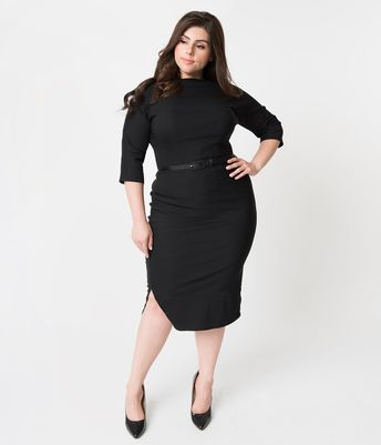 587b95c60d6 Plus Size 1940s Style Black Stretch Sleeved Adelia Wiggle Dress
