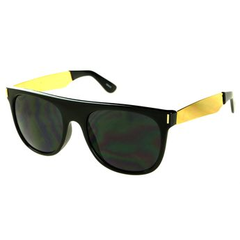 89bdc6303b68d Super Designer Fashion Style Gold Arms Flat Top Sunglasses FT25