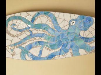 Octopus mosaic surfboard art *Made to order* - Lucy Designs Art