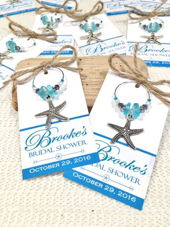 beach bridal shower favors beach wedding favors starfish wedding personalized favor tags wine charms personalized