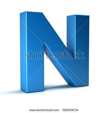 N Letter Icon. 3D Render Illustration