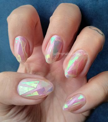 Shattered Glass Nails! I like the shape of thes, too. Subtle claws.