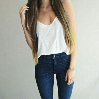 3df5781b2fd85 top t-shirt blouse long hair jeans spring white singlet white tank top navy  denim