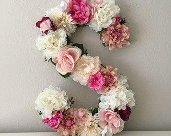 """Custom Floral Letter, Large Letter, Flower Letter, Wall Letter, Nursery Flower Decor, Wall Decor, Floral Baby Shower, Unique Gift, 19"""", 24"""""""