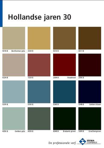 welke kleuren gebruikte men in de 30 er jaren in nederland de kleurspecialisten