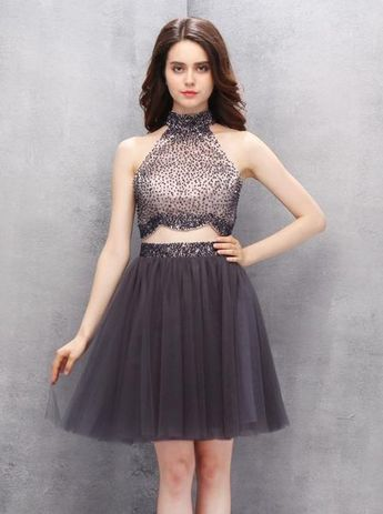 bbce5b8c925 Amazon.com  Homdor Women High Neck Beaded Homecoming Dress