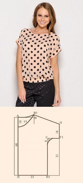 Diy instructions and tutorial how to sew dot blouse