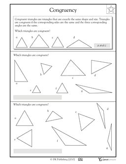 3rd Grade 4th Grade Math Worksheets Congruent Triangles