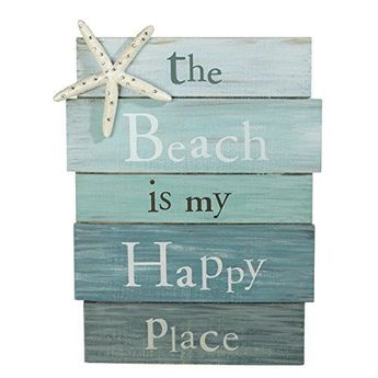Details about The Beach Is My Happy Place - Plank Board Sign with Starfish and Rhinestone Acce