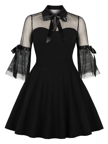 Black Patchwork Grenadine Cut Out Bow Lace-up Turndown Collar Half Sleeve Party Midi Dress