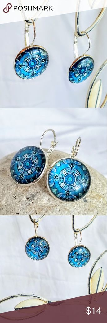 Allergy Safe Blue Mandala Earrings Boutique