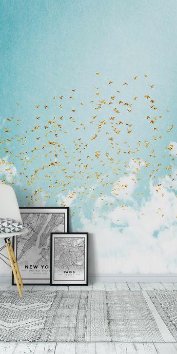 Golden Birds Wall Mural / Wallpaper Abstract