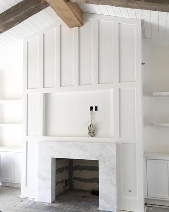 Brooke Wagner Design (@brookewagnerdesign) Thick exposed ceiling beams that contrast fresh white millwork...