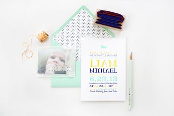 Liam's Colorful Letterpress Birth Announcements