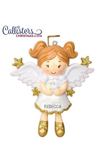 Angel Girl with Dove Ornament
