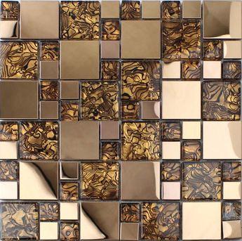 Gold Stainless Steel Backsplash For Kitchen And Bathroom Metal Gl Mosaic Tile Patterns Shower