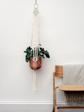 Start making a tropical paradise inside your home with this Macrame plant hanger and handmade terracotta pot. Designed and handmade by us, this Macrame is made from 5mm 100% natural cotton cord and measures approx 122cm.