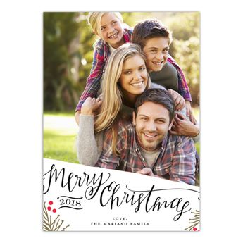Merry Christmas Happy New Year - 5x7 Personalized Holiday Card, Black