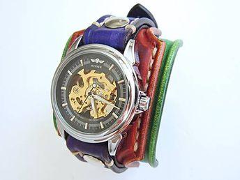 6ea53d470 Dámske hodinky, zelený, hedý, fialový kožený remienok / leon - SAShE.sk