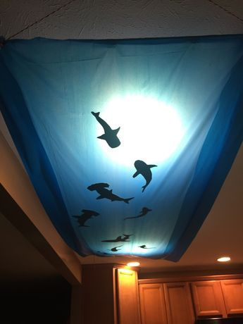 Dollar store table cloth taped on the end to two rods. Rods were attached - by string - and affixed to the ceiling using small clear command hooks. We found shark templates online (Google images) printed them and cut them out of foam sheets ($1/sheet at Michael's)