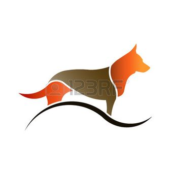 Color Dog with swoosh in white background isolated